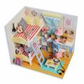 Hoomeda DIY Wood LED Light Doll house Children's Memories With Miniature Furniture Dust Cover Dollhouse Gift For Children Girls