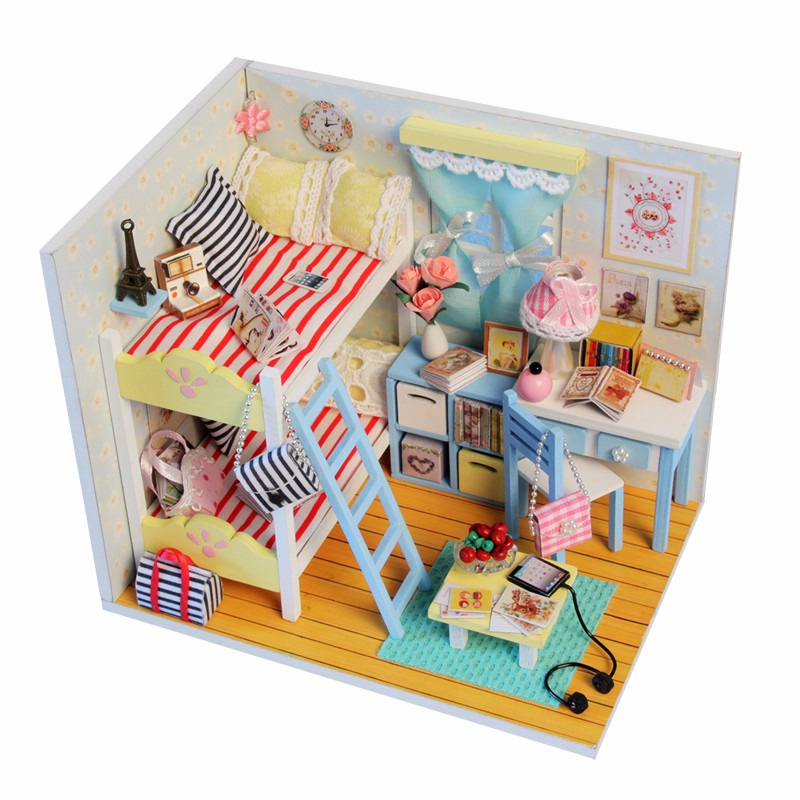 hoomeda diy wood led light doll house childrens memories with miniature furniture dust cover dollhouse gift for children girls aliexpresscom buy 112 diy miniature doll house
