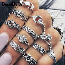 Antique Gold Silver Color Flower Midi Ring Sets for Women Boho Beach Vintage Turkish Punk Knuckle Rings 11pcs/Set R006