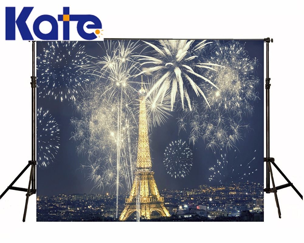 Kate Eiffel Tower Backdrop Color Fireworks Scenic Photography Backdrops Romantic Outdoor Wedding Background