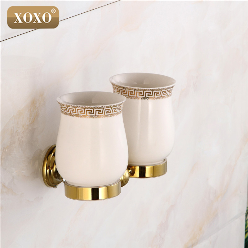 XOXO Crystal+ Brass+Glass Bathroom Accessories Gold double cup Tumbler Holders,Toothbrush Cup Holders 12084DGS cup & tumbler holders glass cup brass antique toothbrush cup holder set luxury bathroom accessories wall tumbler holders 10703f