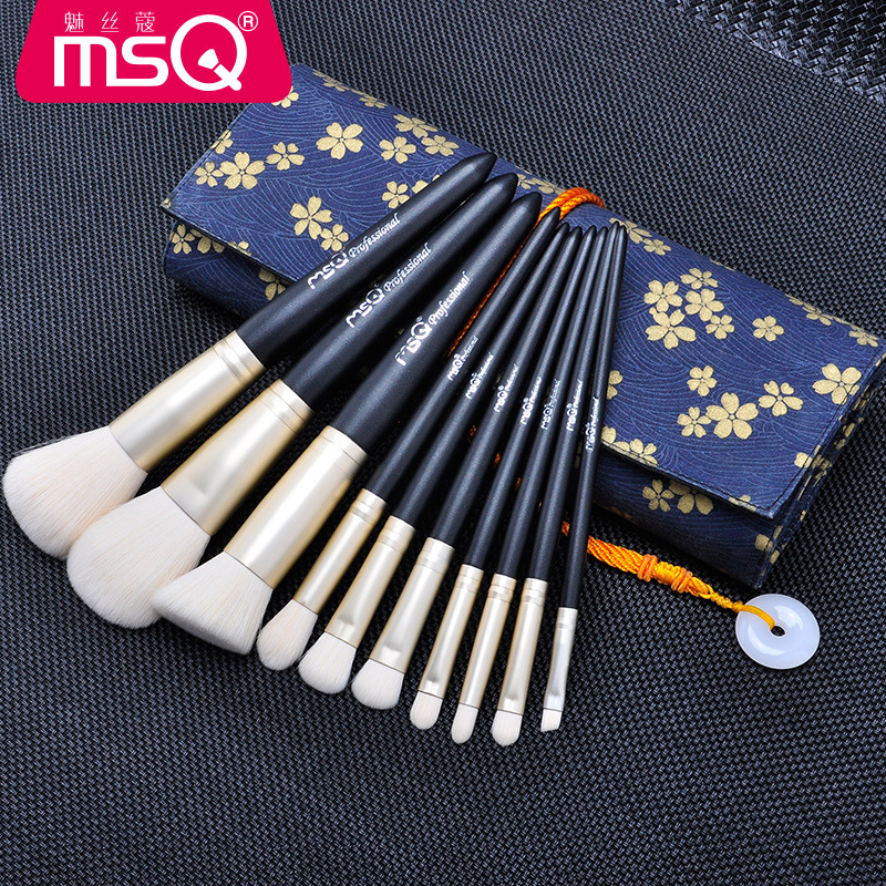 MSQ Pro 10Pcs Cosmetic Makeup Brushes Set Bulsh Powder Foundation Eyeshadow Eyeliner Lip Make up Brush Beauty Tools Maquiagem цена