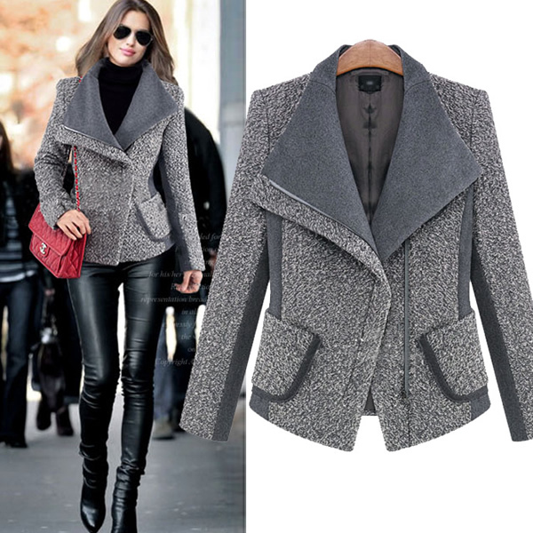 YYW]2015 Design New Spring/Winter Coat Women Grey short Warm Wool ...