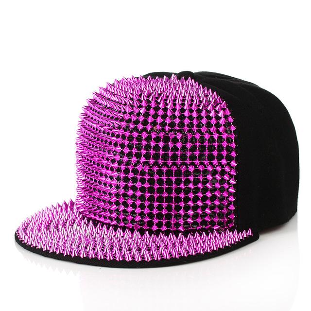 2016 rebites de moda do punk hip hop plana ao longo bonés de beisebol repicado chapéus snapback bonés para homem e mulher frete grátis