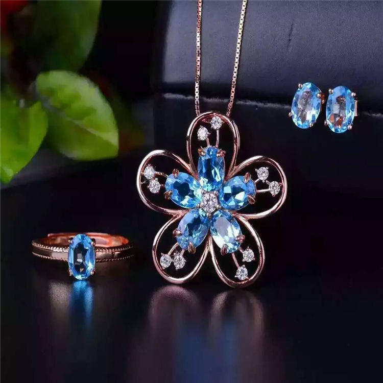 Exclusive new Swiss Blue Topaz Ring + natural Earrings Necklace Set 925 + silver inlay Deluxe Edition vintage alloy rhinestone inlay embellished necklace earrings set