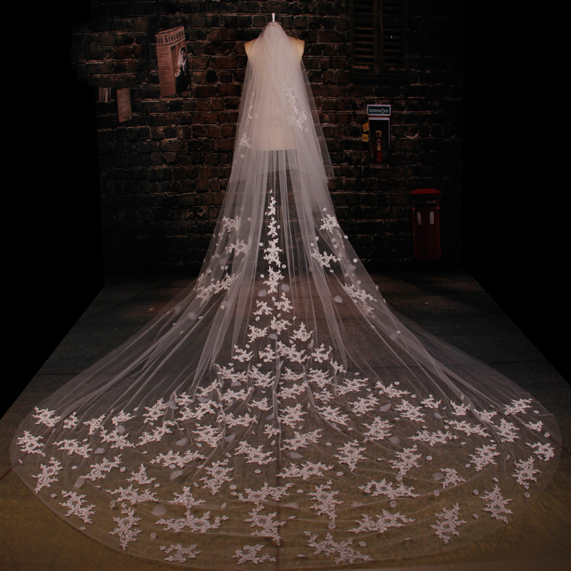 Grace Li Handmade Flowers Cathedral Wedding Veils One Layer