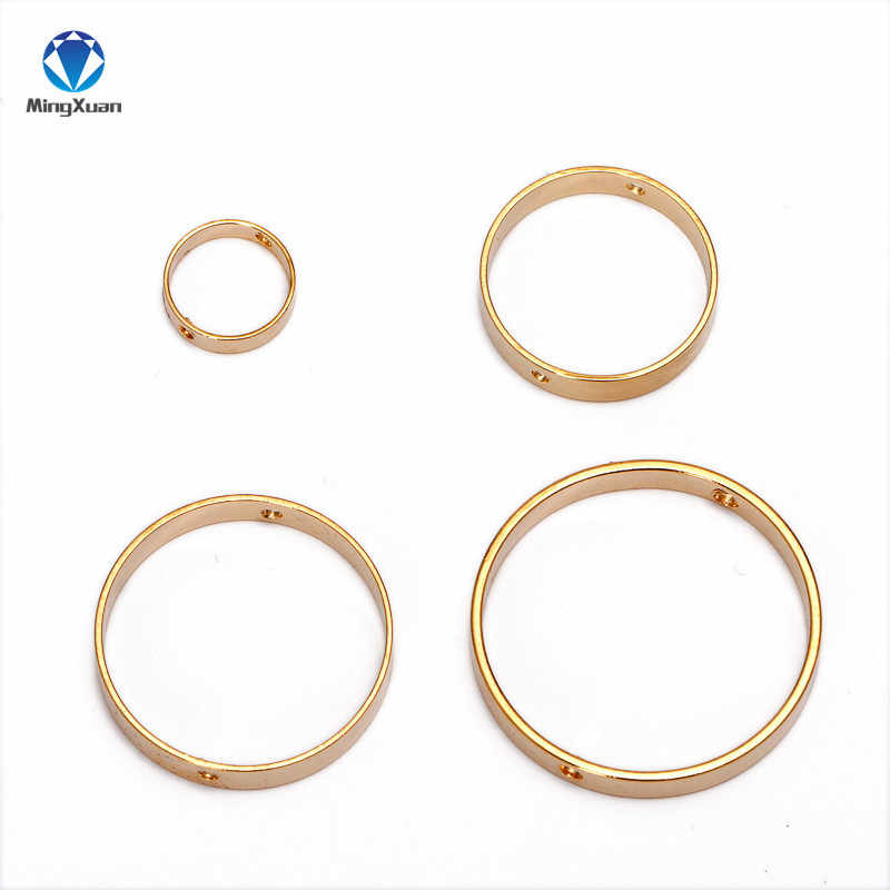 MINGXUAN 20pcs Double Hole Spacer Positioning Circle Jump Ear Rings For Fashion Jewelry Making Bead Gold Earings For Women DIY