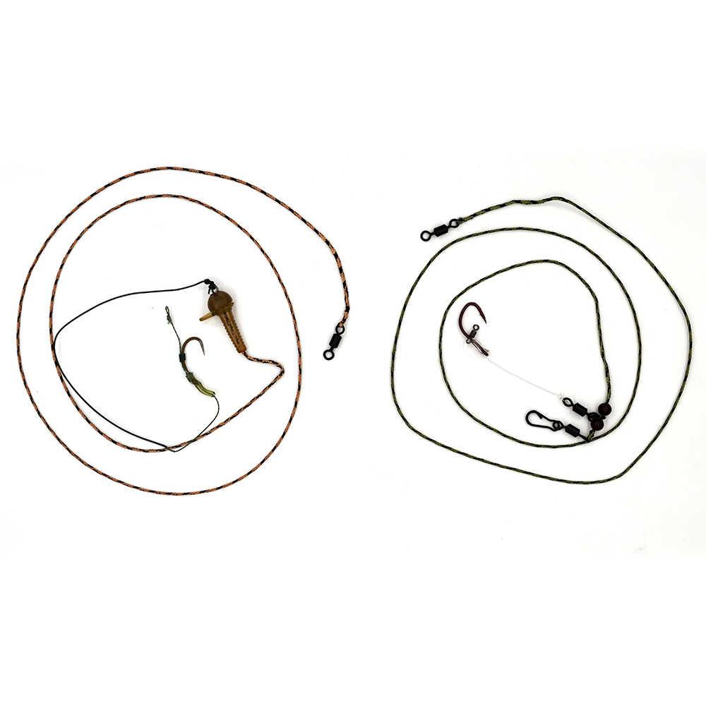 Mnft 1 conjunto equipamento de pesca da carpa terminal de ligação do núcleo ligação gancho farpado gancho ligação fishhooks tiro longo equipamento conjunto