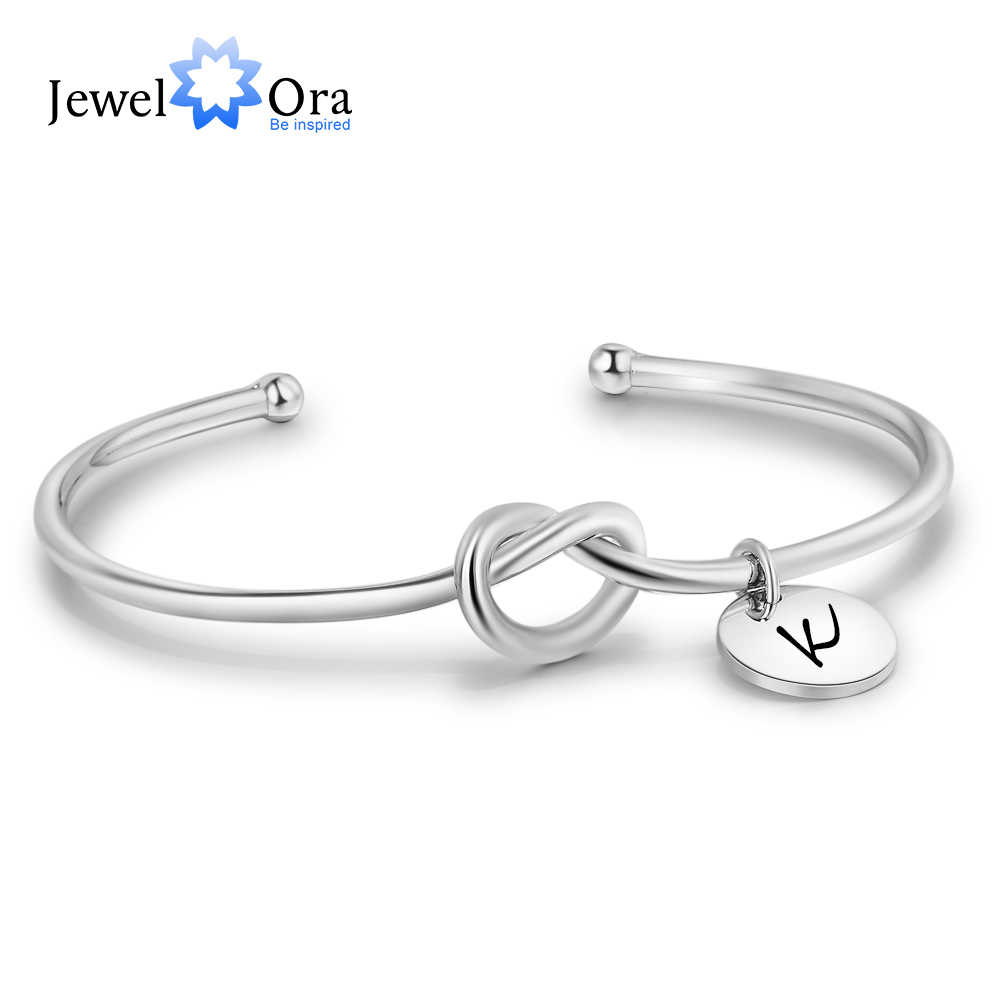 Personalized ID Bangles Tie Design Customize Engrave Name 2 Colors Fashion Bracelets & Bangles For Women (JewelOra BA102096)