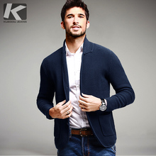 Winter Mens Fashion Sweaters 100% Cotton Blue Knitted Cardigan Knitting Brand Clothing Man's Slim Fit Knitwear Coats