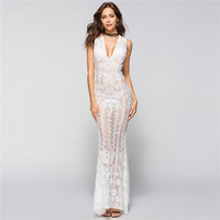 Sexy See Through White Lace Women's Dress With Shawl Cloak Deep V Neck Sheath Long Party Dress Formal Dress Bodycon Elbise