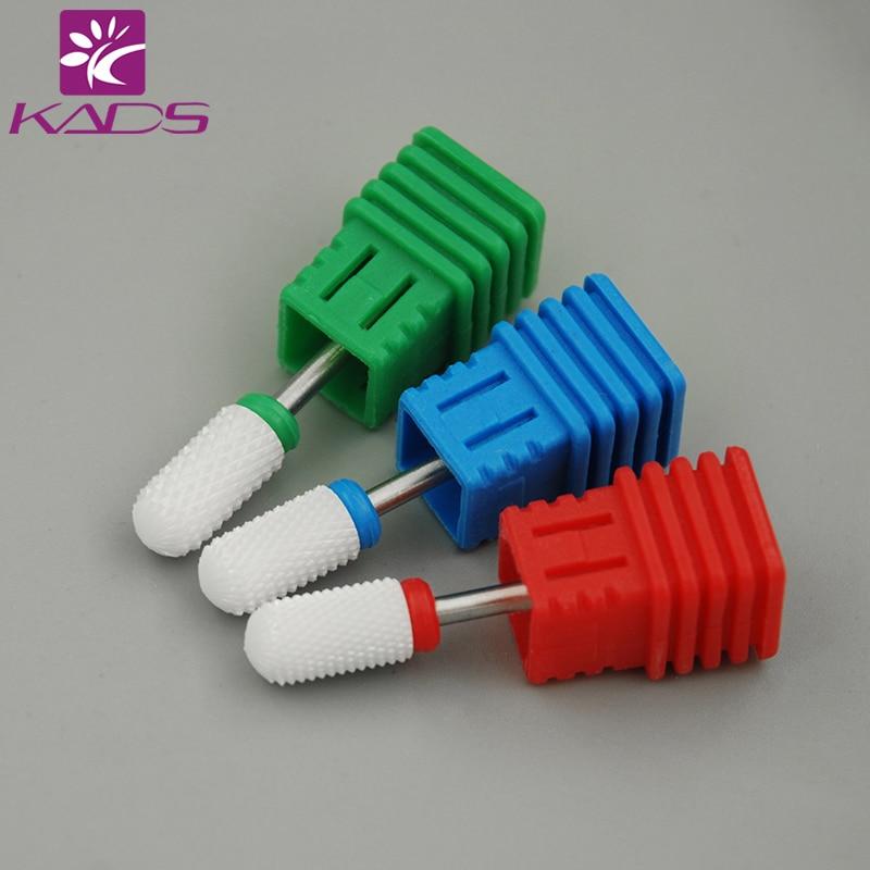 Kads Cylinder Nail Art Drill Bit Polish Tool Ceramic Mounted Grinding Stone Head Electric