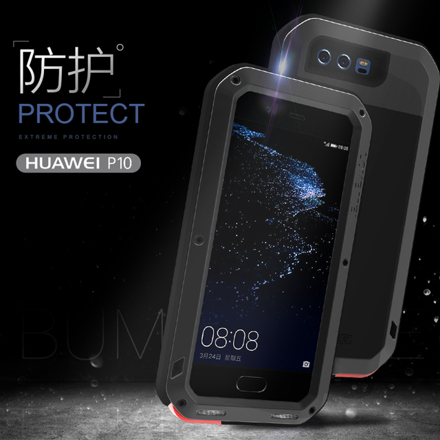 Love Mei Metal Aluminum Phone cover for huawei P10 Phone case 2017 waterproof Shockproof armor rugged Gorilla Glass phone cases