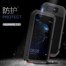 Love Mei métal aluminium téléphone couverture pour huawei P10 coque de téléphone 2017 étanche antichoc armure robuste gorille verre coques de téléphone