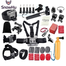SnowHu For Gopro Accessories Set Kits Base Adapter 3 Way Arm Tripod for SJCAM GoPro 5 4 Xiaomi yi 4K Eken h9r XH31