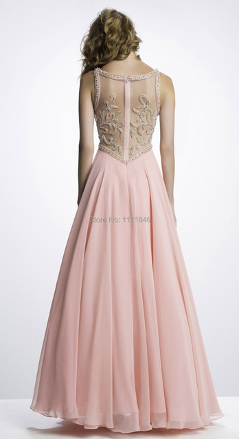 5f6860a62a6d Unique beading sheer pink prom girl dresses online sweetheart chiffon long  pearls prom gown 2015 sexy long formal night dresses