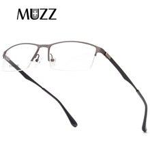 01ef36677 MUZZ TR90 سبائك التيتانيوم إطار نظارات الكورية Screwless الرجال نصف إطار  قصر النظر نظارة عادية وصفة طبية النظارات المعدنية البصر.