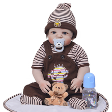 """Newborn doll 57 cm Realistic Full Silicone 23"""" Reborn Baby Doll For Sale Lifelike Baby Dolls Kids Playmate Xmas Gifts"""