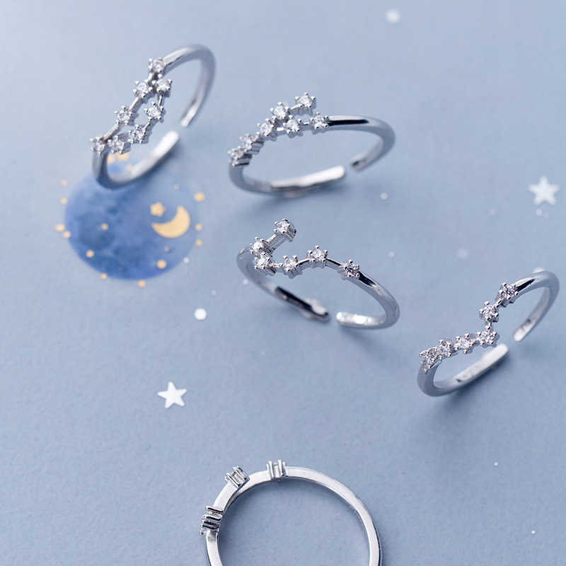 Modian ขายร้อนแฟชั่นปรับสิบสอง Constellations แหวน Charm 925 Sterling Silver Taurus Libra Leo เครื่องประดับสำหรับของขวัญผู้หญิง