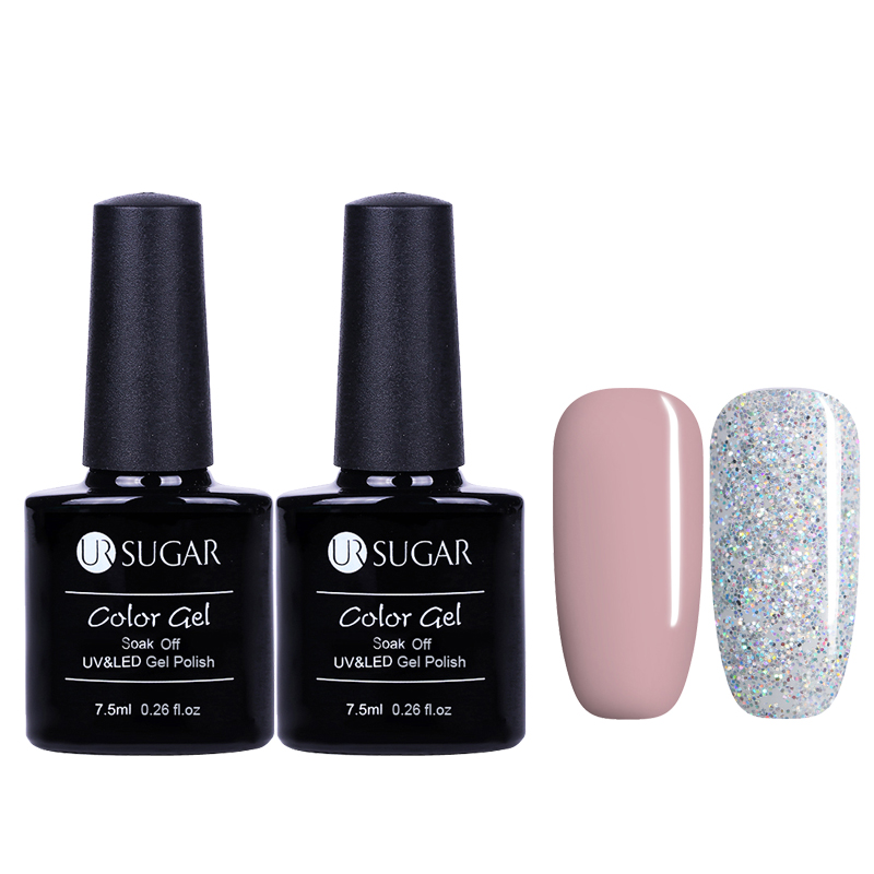 2Pcs UR SUGAR Nude Glitter UV Gel Polish Soak Off Pure Color Gel Nail Polish Nail Lacquer Gel Varnish Primer Nail Gel Lak 7.5ml