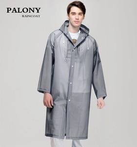 Image 1 - ファッション女性男性エヴァ透明レインコートポータブルアウトドア旅行レインウェア防水キャンプフード付きポンチョプラスチック雨カバー