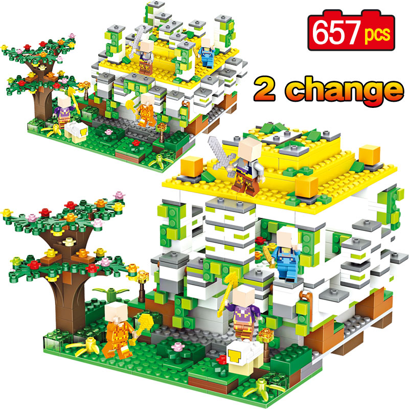My World Series Compatible LegoINGlys Minecrafter Forest Cave Zombie Tree Woods Hole Building Blocks Brick Toys 2 Change Methods цена 2017