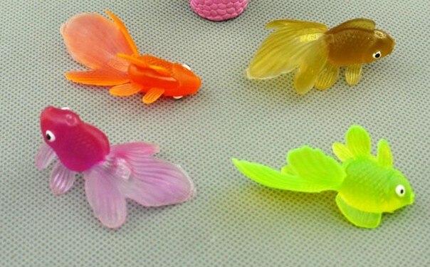 ФОТО 5cm Plastic marine animal model simulation ornamental fish Super Meng small goldfish toy model 50pcs/lot