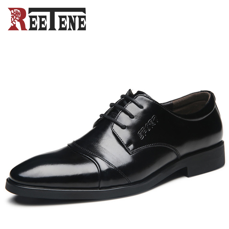 REETENE High Quality Wedding Shoes Men Fashion Men Dress Shoes Pointed Toe Men Shoes Lace Up