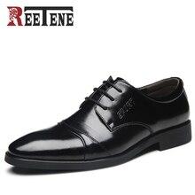 REETENE Hohe Qualität Hochzeit Schuhe Männer Mode Für Männer Kleid Schuhe Spitz Männer Schuhe Lace-Up Wohnungen Plus Größe