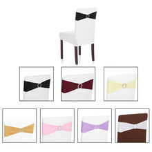 50PCS Wedding Party Decorations Elastic Spandex Chair Cover Sashes Bows Elastic Chair Bands With Buckle Slider Chair Sashes(China)