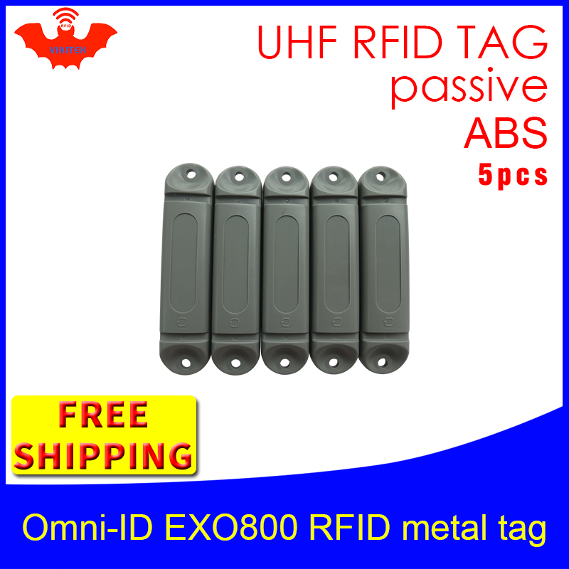 UHF RFID Metal Tag Omni-ID EXO800 915mhz 868mhz Impinj Monza4QT EPC 5pcs Free Shipping Durable ABS Smart Card Passive RFID Tags