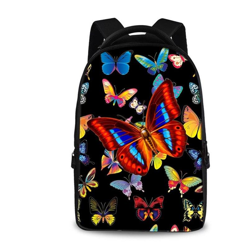 FORUDESIGNS Butterfly Printing Women Backpack,Black Children Kids School Backpacks for Teenage Girls,Female Travel Daily Backbag