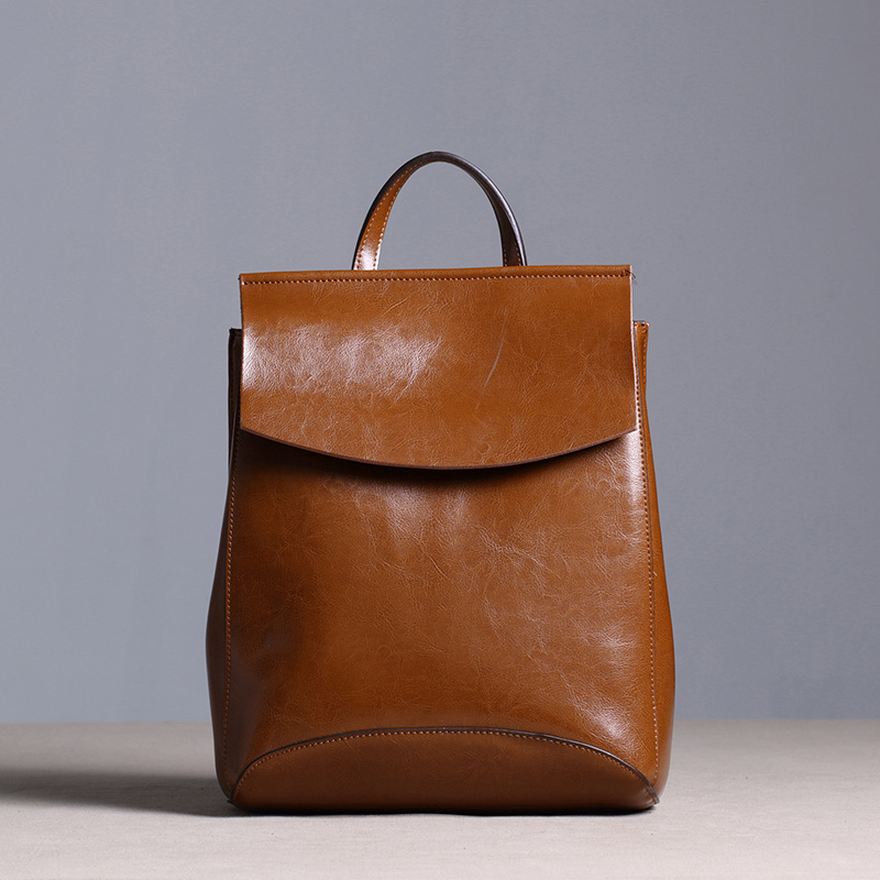 Hot Sale Vintage Rucksack Women Leather Bagpack Oil Wax Leather Girl Shoulder Bag Simple Preppy Style