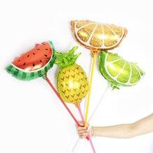 Wholesale 50pcs/lot 16inch Mini Fruit Aluminum foil Balloons pineapple lemon watermelon Summer Party Birthday Decoration globos