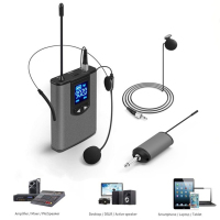 UHF Wireless Microphone System Mini Lapel or Headset Mic with Bodypack Portable Receiver Transmitter For Teach Lecture Speech