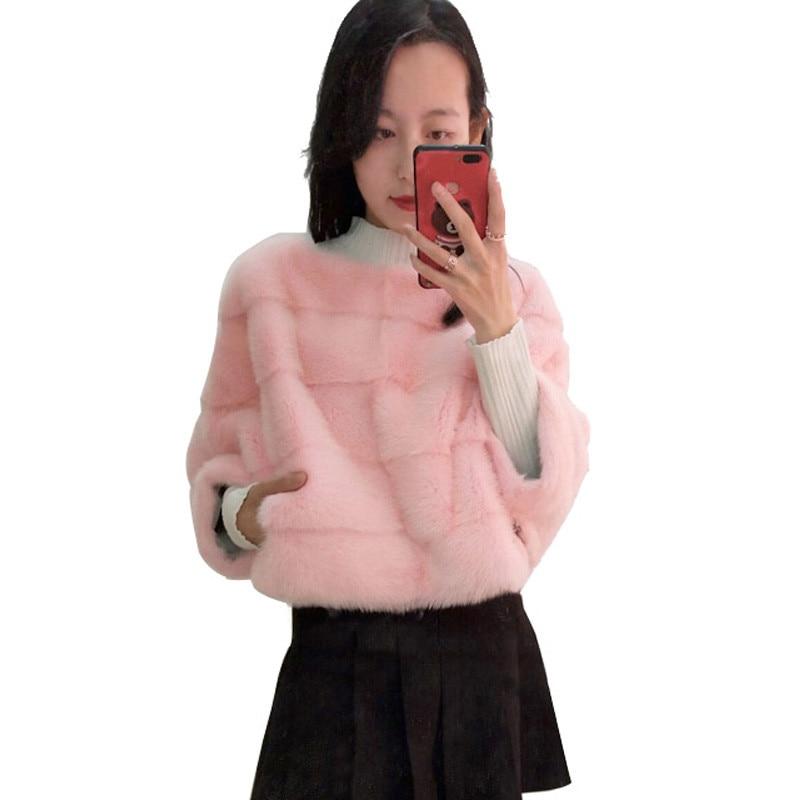 Femmes réel manteau de fourrure de vison court paragraphe bat chemise mode veste peut être utilisé avec jupe