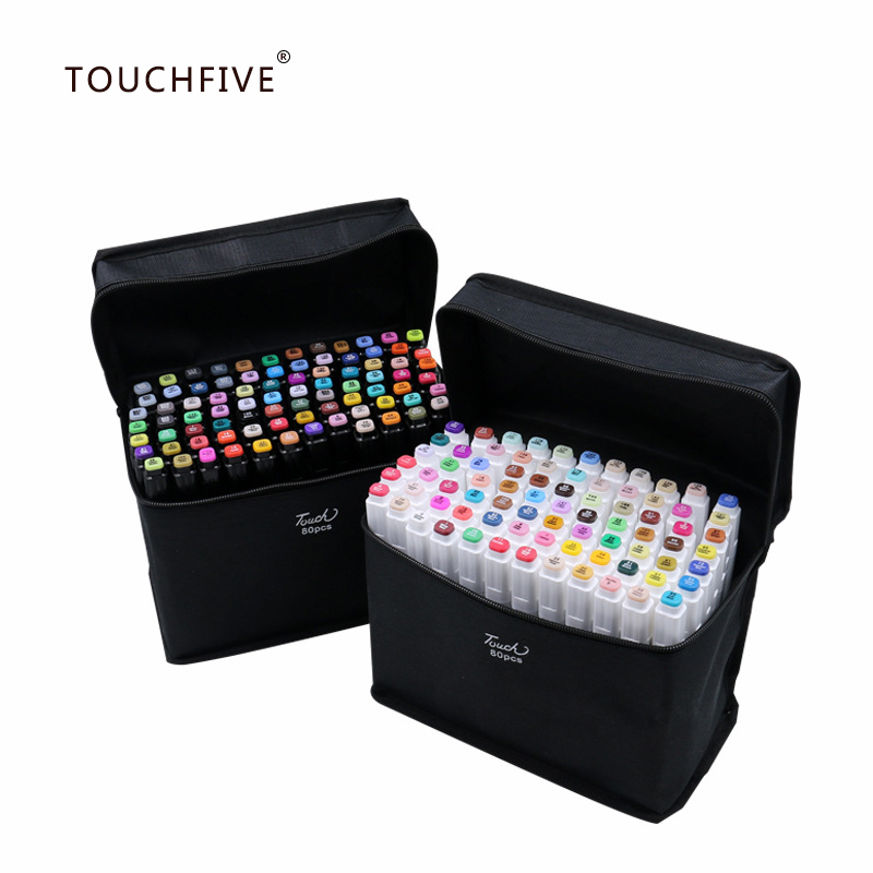 TouchFIVE Art Markers Pen Set 12/30/40/60/80/168Colors Anime Stationery Sketch Drawing Water Color Brush Pen (White Marker Pen)