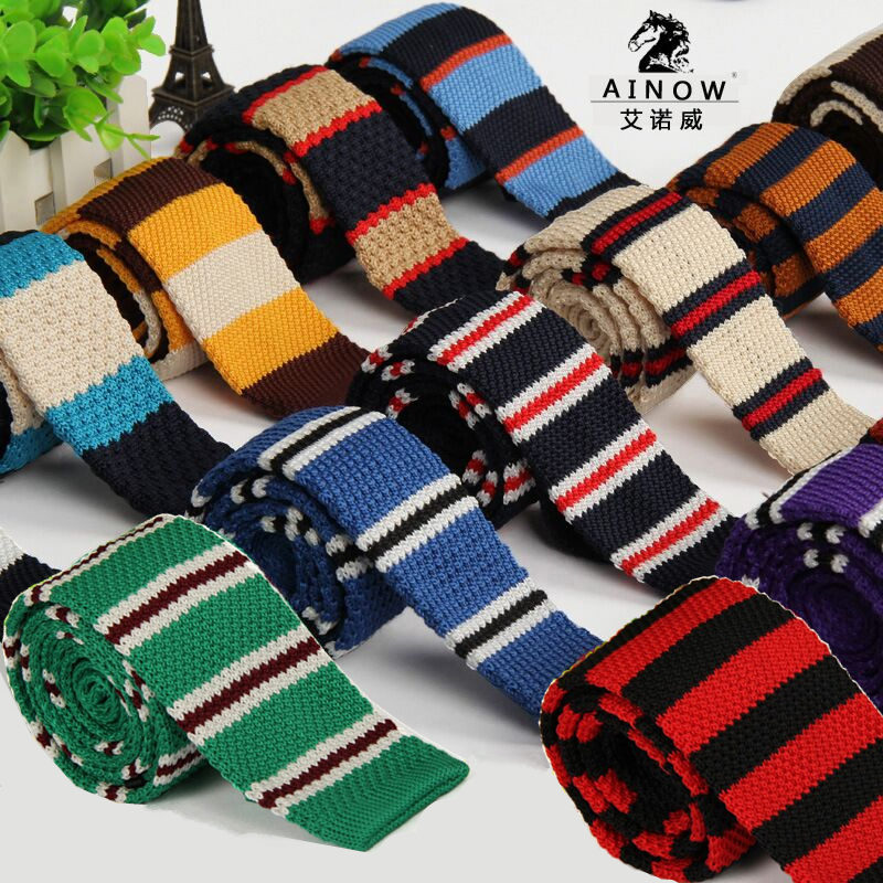 SHENNAIWEI 2016 New Wool Knit Tie Casual Korean Flat-head 5cm Narrow Striped Necktie Men's Knitting 20 Color