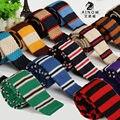SHENNAIWEI 2016 Nueva corbata de punto de lana ocasional Coreana de cabeza plana 5 cm estrecha corbata a rayas de los hombres de tejer 20 color