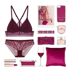 Image 5 - Sexy mousse wirefree fino copo beleza voltar profundo v conjunto de roupa interior sexy senhoras triângulo copos respirável rendas sutiãs para mulher