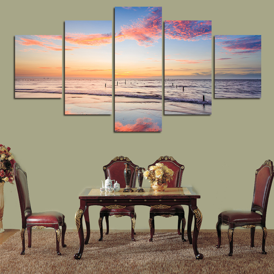 5 panel wall art landscape and waves painting on canvas - Landscape paintings for living room ...