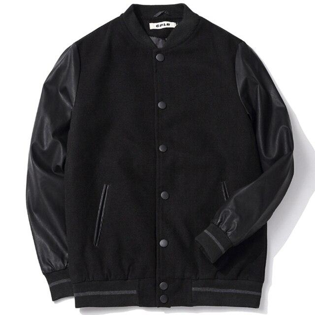 School Team Uniform Men Black Leather Sleeves College Varsity Jacket