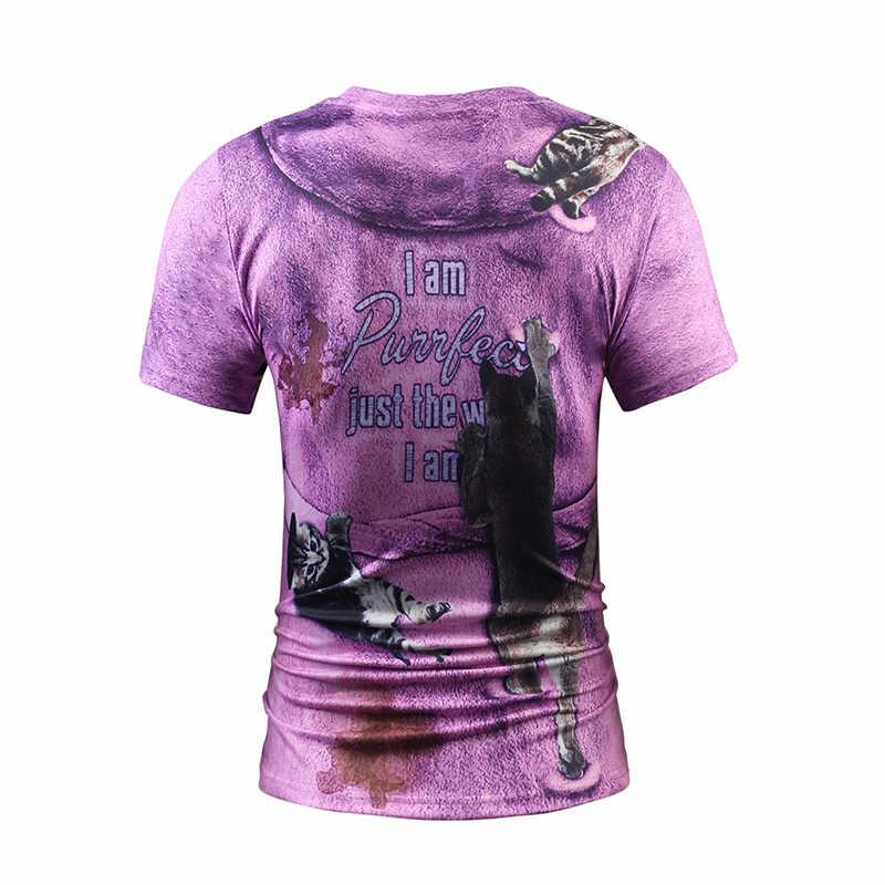 2017 degli uomini di Fitness Falso in Due Pezzi di Estate T shirt 3D Stampa Gatti in Viola Accappatoi Divertente T-Shirt Design hip Hop Camisetas