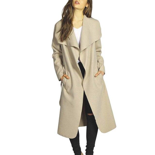 Женская Тонкий с Длинными рукавами мода ветровка Длинное Пальто Тренч Ветровка Пиджаки Кардиган