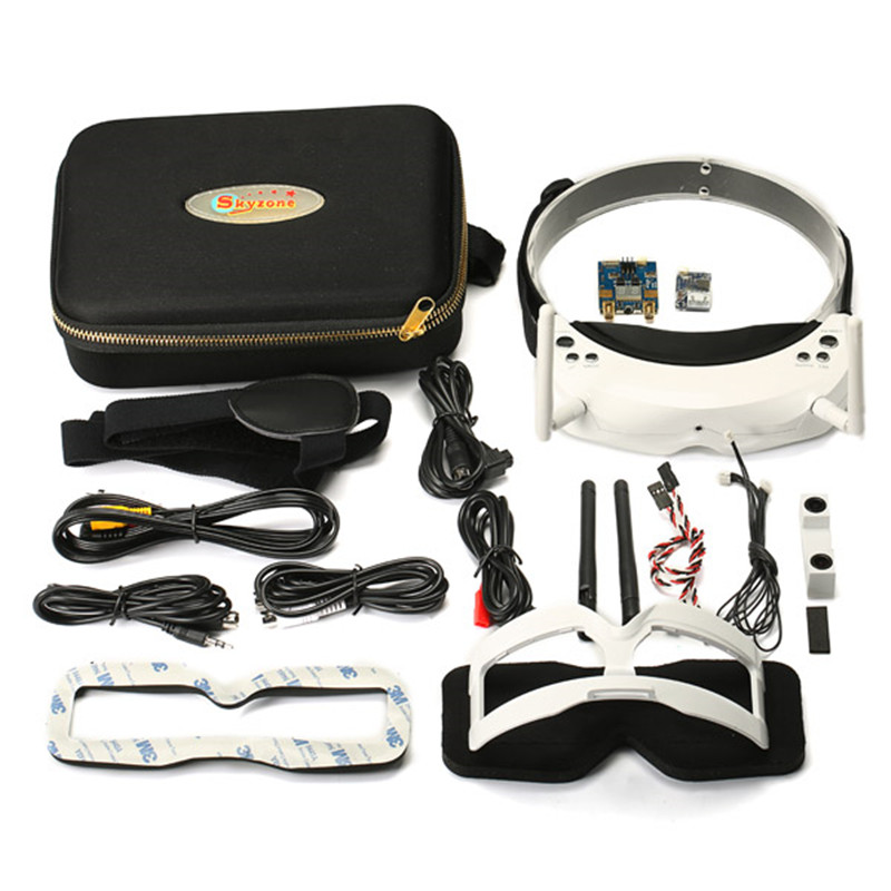100% Оригинальные Skyzone SKY02S V + 3D 5,8 Г 40CH FPV очки Видео очки с передатчик Камера головы отслеживания HDMI DVR белый