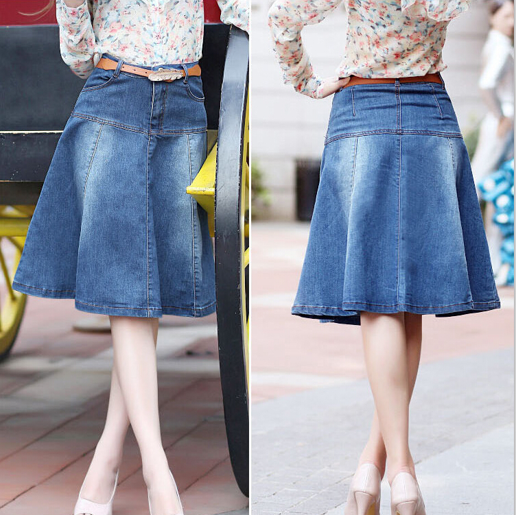 Denim Knee Length Skirt - Skirts