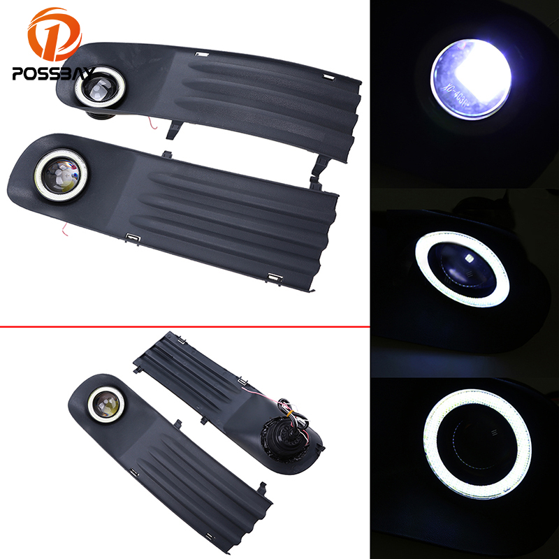 POSSBAY White Angel Eyes Auto Halo Rings Bumper Grille LED Fog Lights Kit for VW T5 2003-2009 Waterproof Convex Lens Daylights possbay front bumper grille led angel eye fog lights for vw polo mk4 9n3 2005 2009 facelift led front foglamps