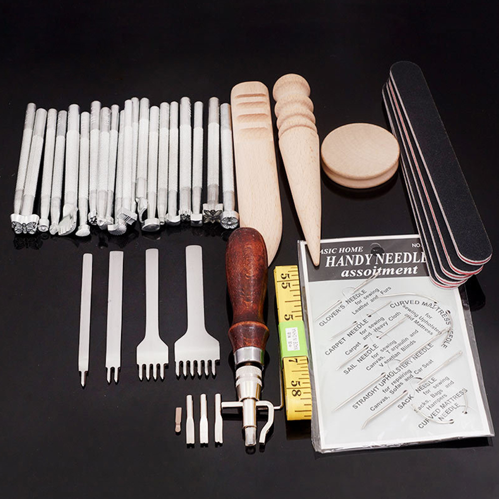 59pcs Professional Wallets Saddle Making Sewing Stitching DIY Punch Hand Tools Home Practical Groover Leather Craft Kit Stamping