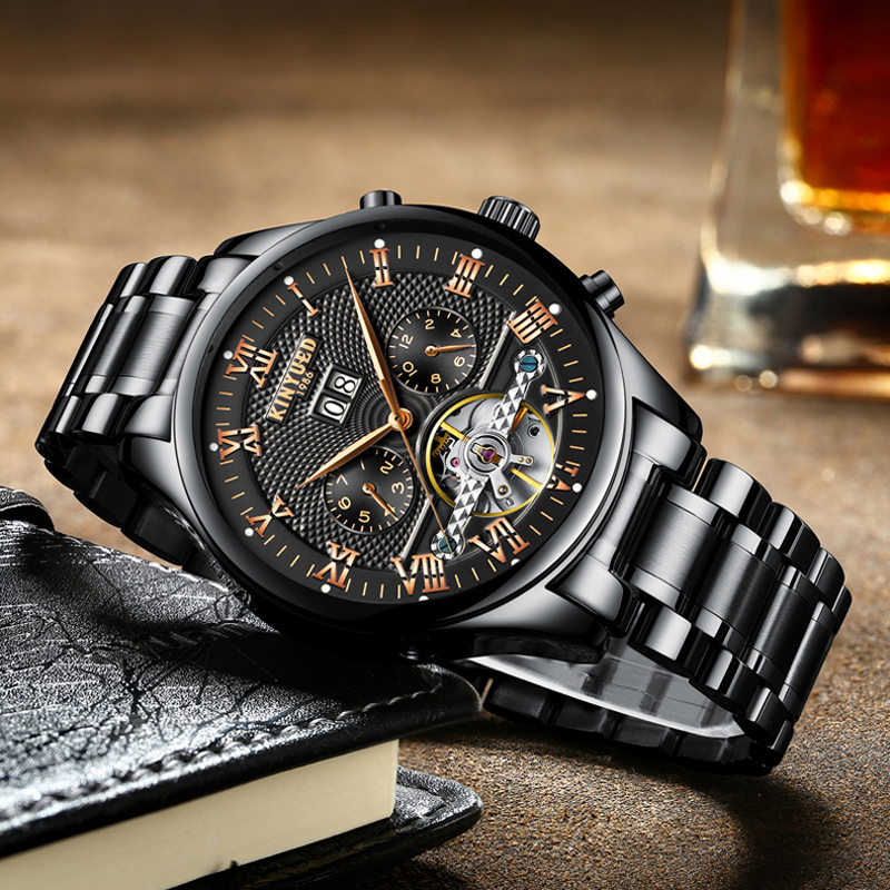 KINYUED Mechanical Stainless Steel Mens Watches Automatic Black Silver Male Watch Fashion Skeleton Tourbillon Calendar ClodckKINYUED Mechanical Stainless Steel Mens Watches Automatic Black Silver Male Watch Fashion Skeleton Tourbillon Calendar Clodck