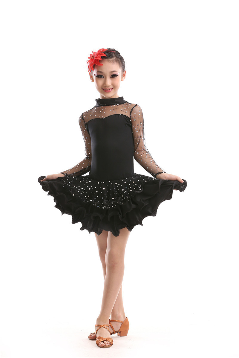 Black Latin Dance Dress Girls Sexy Dress Disfraz Infantil -7965